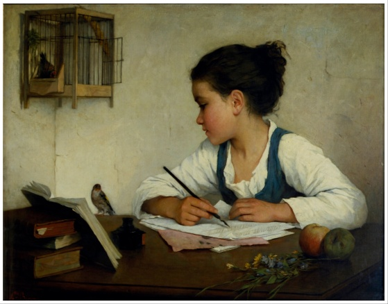girl writing painting
