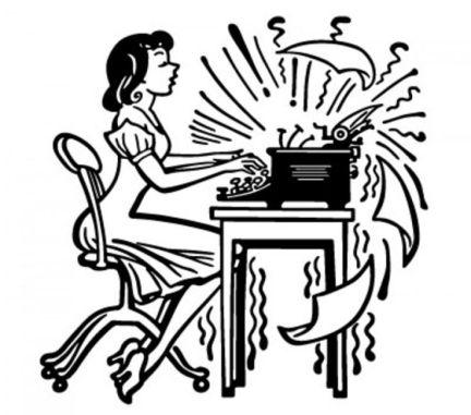 typist on old typewriter 1