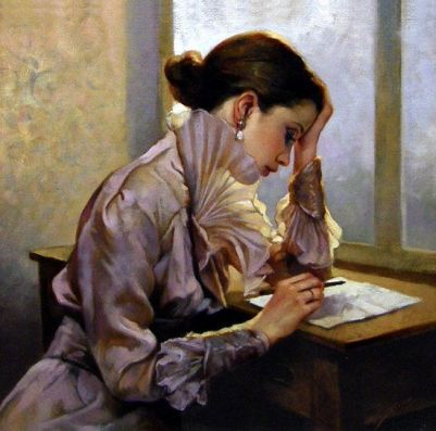woman at desk writing