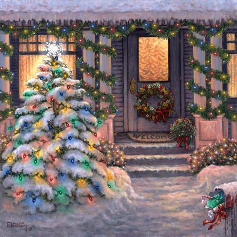 Christmas scene of front door and tree