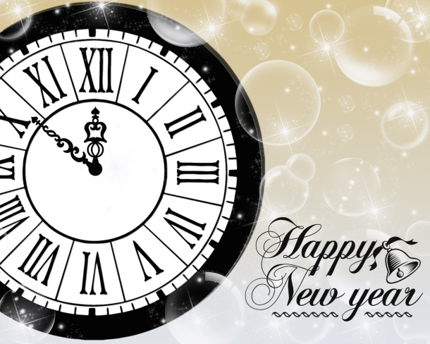 happy new year clock