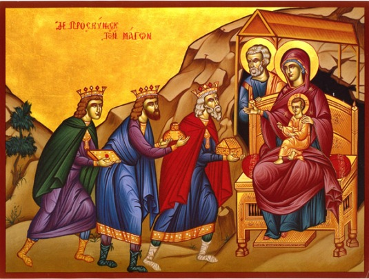 magi visiting Theotokos & Christ