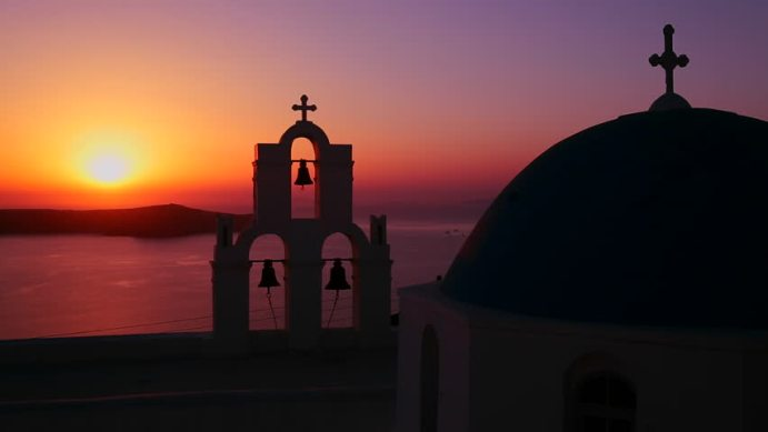 santorini sunset with church