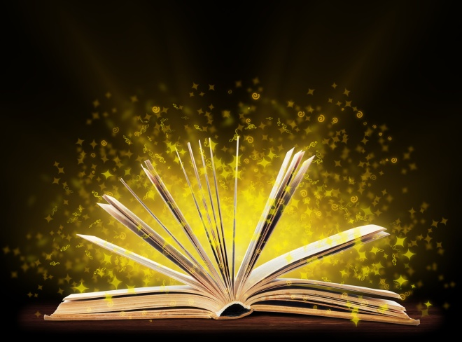 Book. Opened book with special light. Education