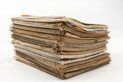 stack of old notebooks