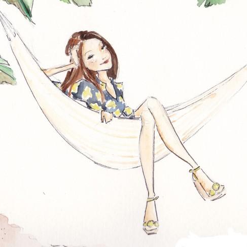 cartoon girl sitting in hammock