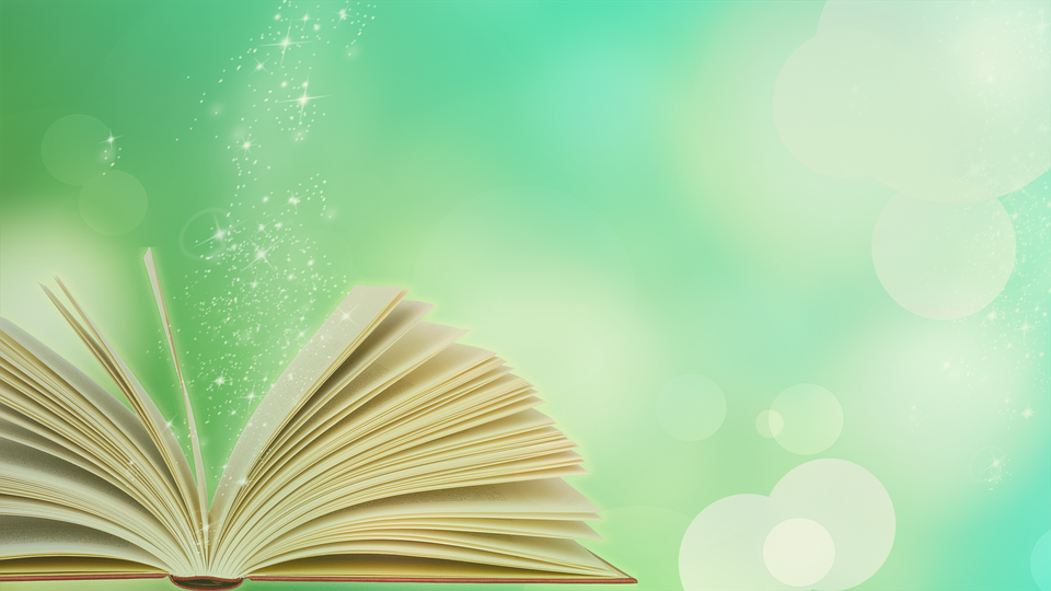 book with green background sparkle