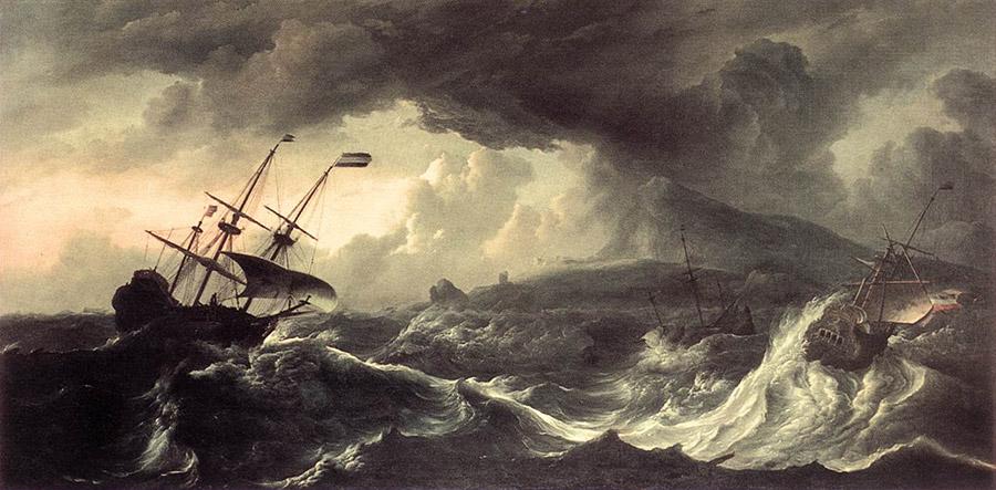 ships on storm sea