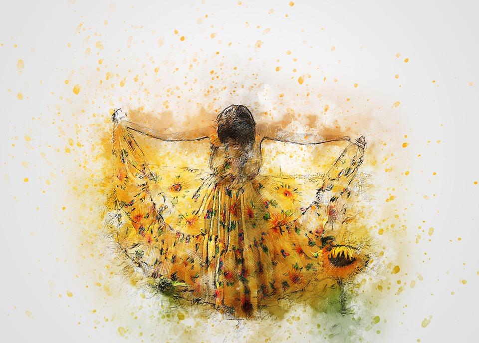 sunflower dress girl
