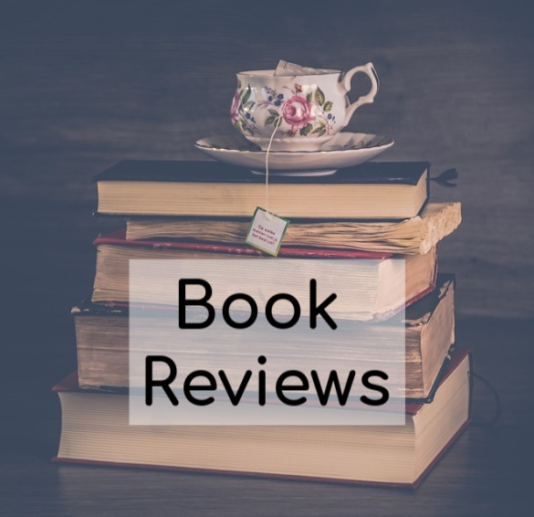 book reviews image of stack of books and tea cup
