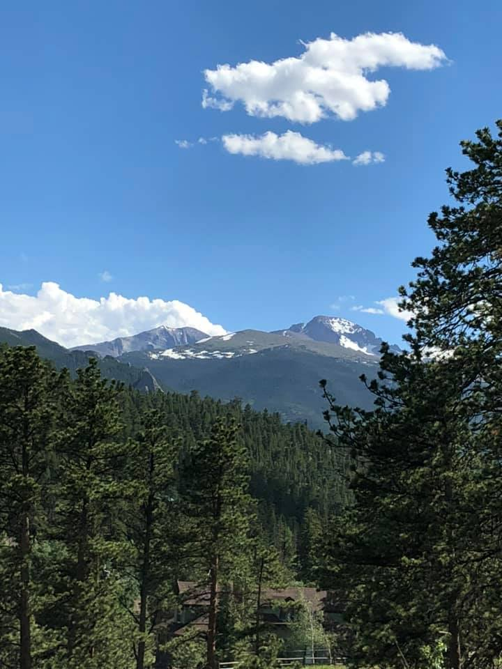 Long's Peak, Estes Park from our cabin July 2019