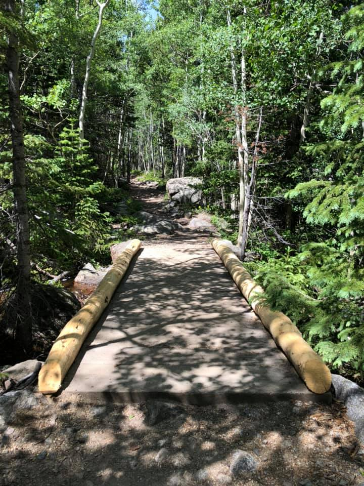 small bridge on walking trail RMNP July 2019