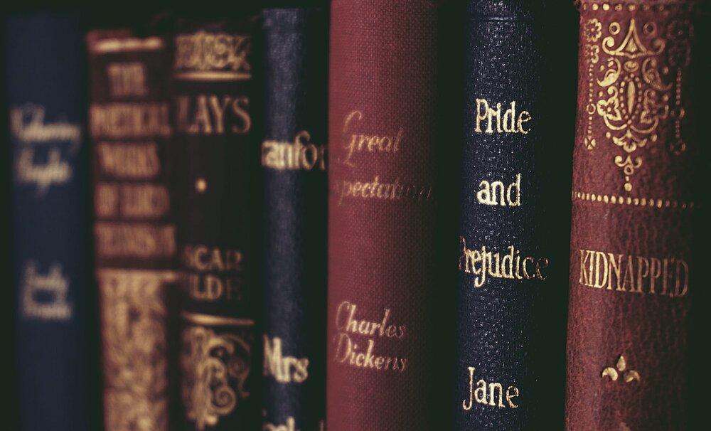 classic books in book shelf